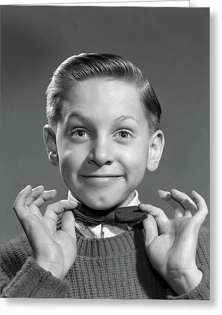 1950s 1960s Boy Adjusting Bow Tie Greeting Card