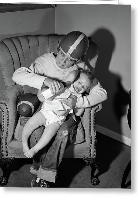 1950s 1960s Boy Sitting By Football Greeting Card