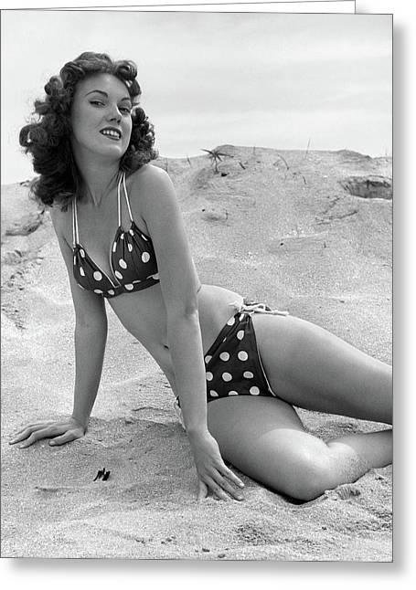 1950s 1960s Brunette Bathing Beauty Greeting Card