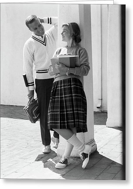 1950s 1960s College High School Aged Greeting Card