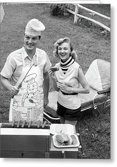 1950s 1960s Couple Backyard Grilling Greeting Card