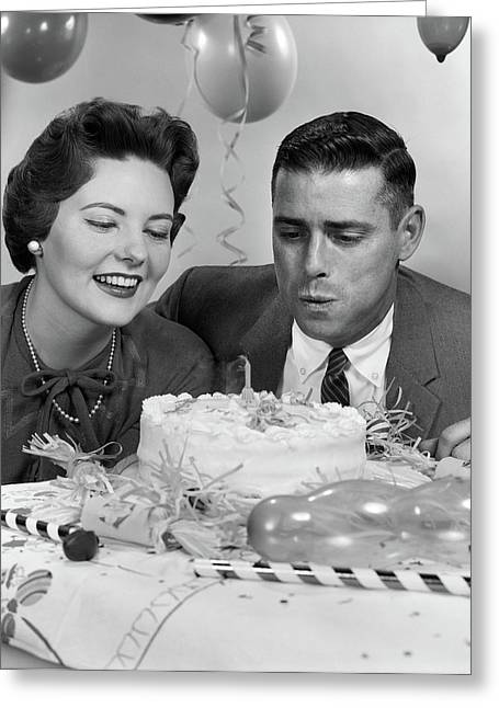 1950s 1960s Couple With Birthday Greeting Card