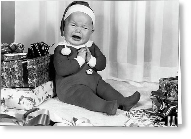 1950s 1960s Crying Baby Dressed Like Greeting Card