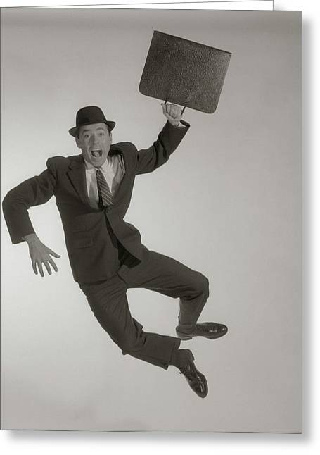 1950s 1960s Excited Happy Businessman Greeting Card