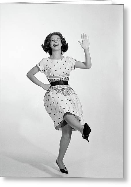 1950s 1960s Excited Smiling Woman Greeting Card