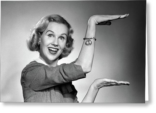 1950s 1960s Happy Smiling Blond Woman Greeting Card
