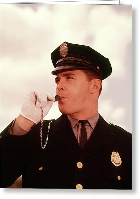 1950s 1960s Head Shot Police Policeman Greeting Card