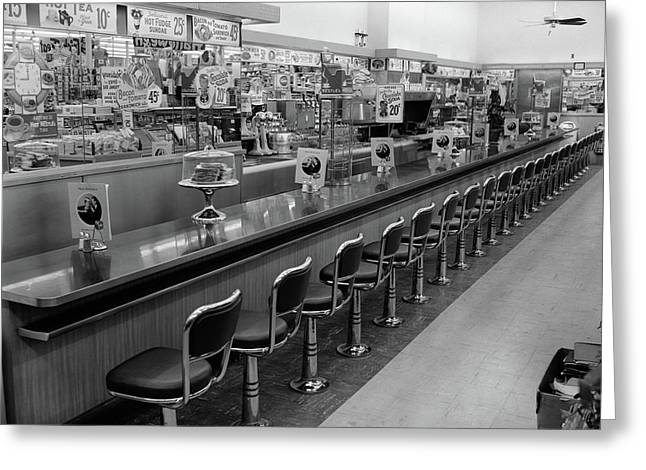 1950s 1960s Interior Of Lunch Counter Greeting Card