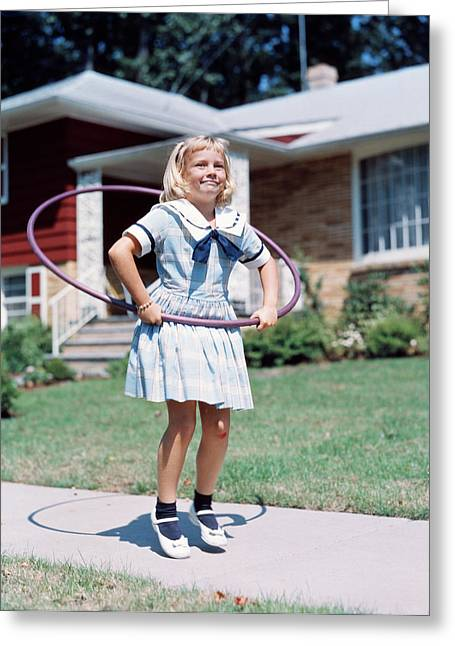 1950s 1960s Little Girl With Hula Hoop Greeting Card