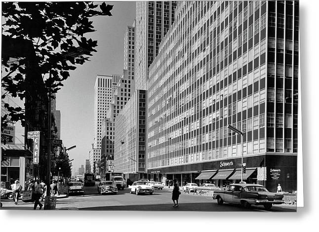 1950s 1960s Looking South On Third Greeting Card