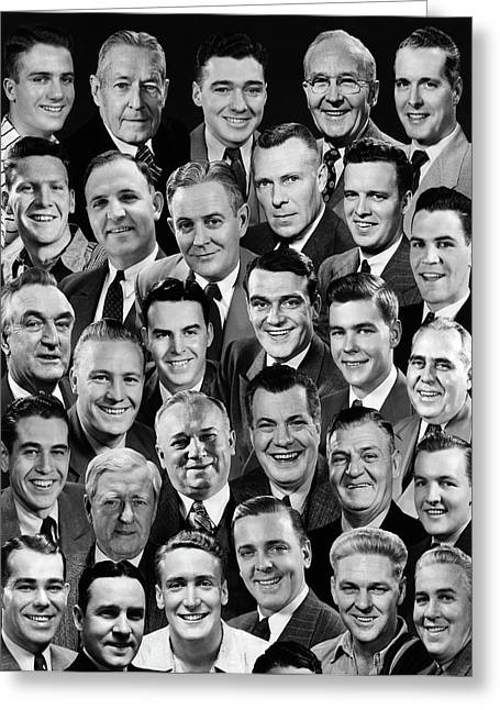 1950s 1960s Montage Of 29 Mens Heads Greeting Card