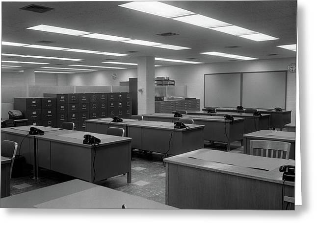 1950s 1960s Office With Desks Black Greeting Card