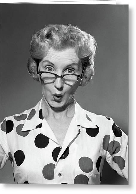 1950s 1960s Portrait Woman Polka Dot Greeting Card