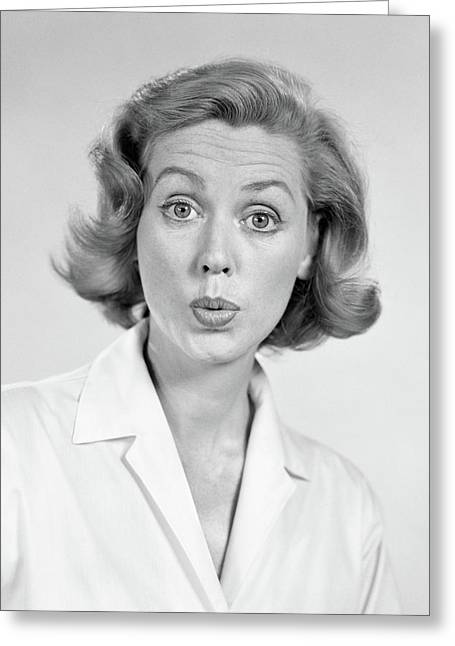 1950s 1960s Portrait Woman With Shocked Greeting Card