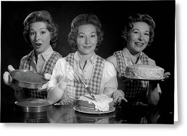 1950s 1960s Triple Exposure Smiling Greeting Card