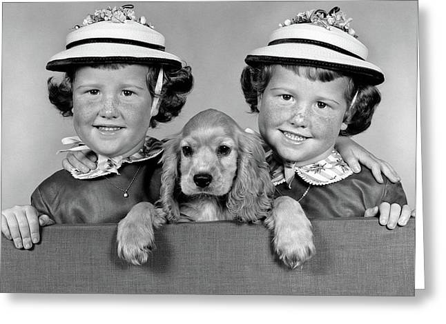 1950s 1960s Twin Girls Wearing White Greeting Card