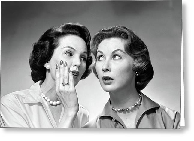 1950s 1960s Two Women Gossiping One Greeting Card