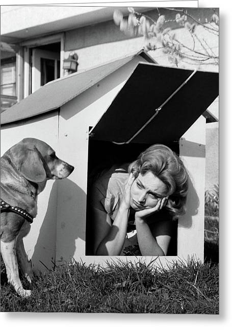 1950s 1960s Woman In Doghouse With Dog Greeting Card