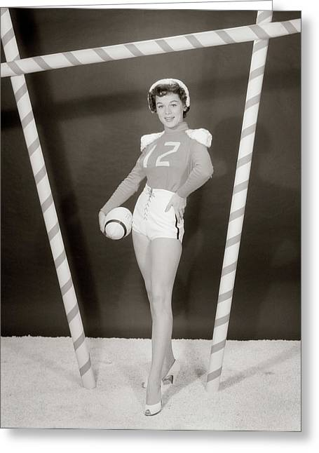 1950s 1960s Woman In Sexy Football Greeting Card