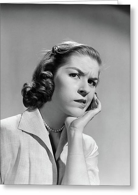 1950s 1960s Woman Portrait Worried Greeting Card