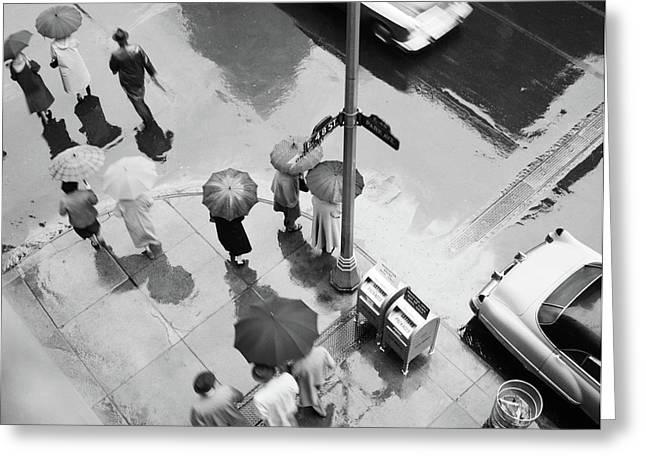 1950s Aerial Of Street Corner Greeting Card