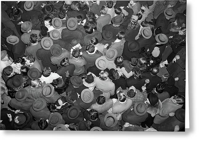 1950s Aerial View Of Crowd Of Men Greeting Card