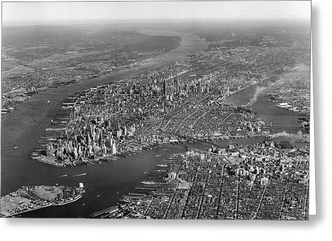 1950s Aerial View Of Manhattan Island Greeting Card