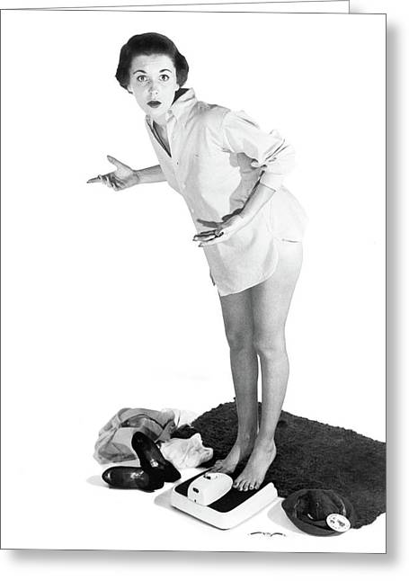 1950s Alarmed Woman Standing Greeting Card