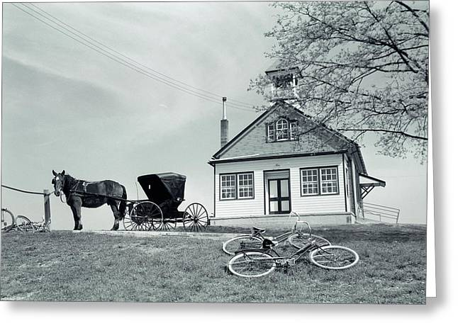 1950s Amish One-room Schoolhouse At Top Greeting Card