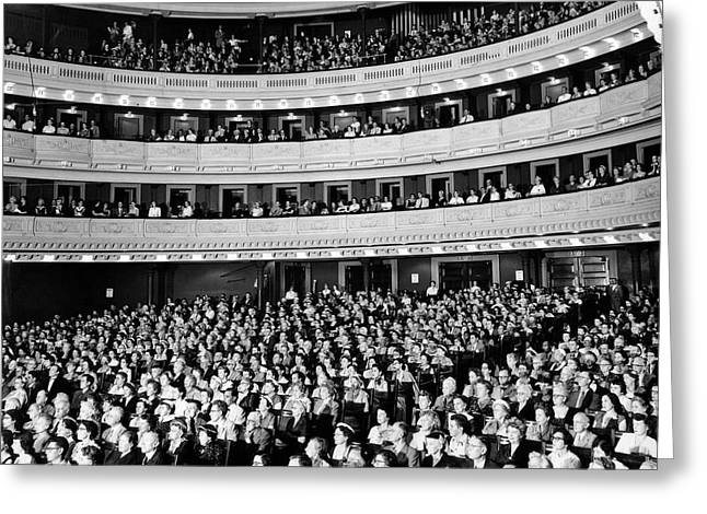 1950s Audience Sitting In Carnegie Hall Greeting Card