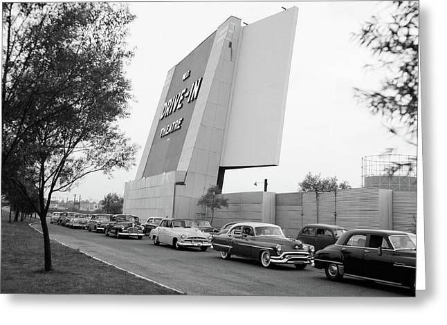 1950s Automobiles In Line To Enter Greeting Card