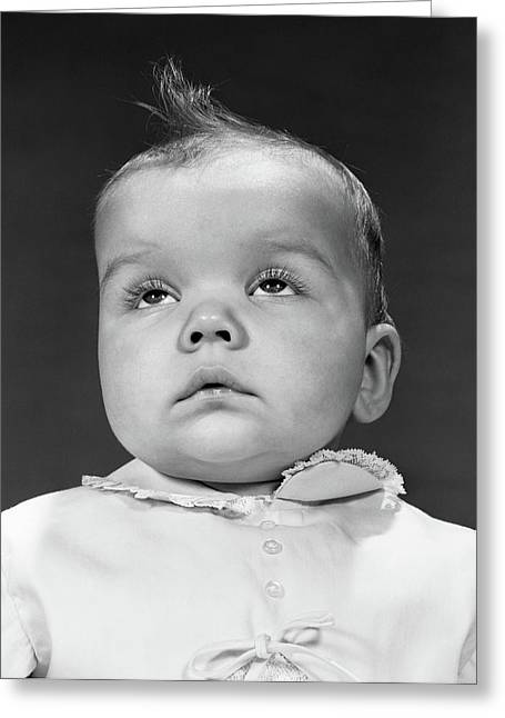 1950s Baby Portrait Wear Dress Buttons Greeting Card