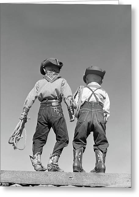 1950s Back View Of Two Boys Dressed Greeting Card
