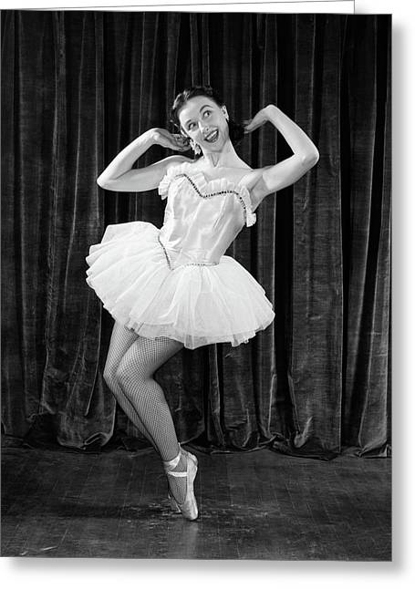 1950s Ballerina On Toes Greeting Card
