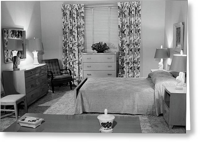 1950s Bedroom Interior With Floor Greeting Card