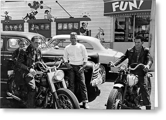 1950s Bikers At Playland Greeting Card by Underwood Archives
