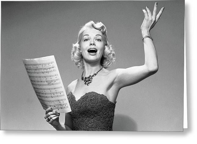 1950s Blond Woman Vocalist Wearing Greeting Card