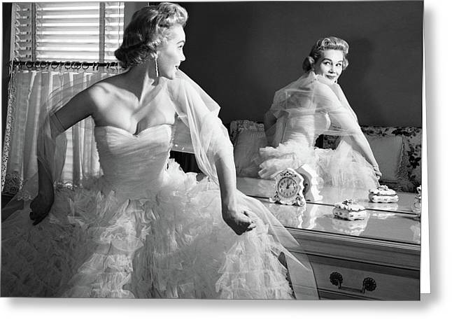 1950s Blonde In Strapless Gown Greeting Card