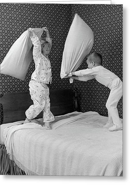 1950s Boy & Girl Brother & Sister Greeting Card