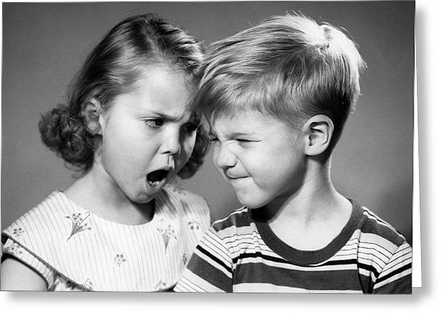 1950s Boy And Girl Arguing Head To Head Greeting Card