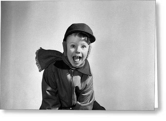 1950s Boy Dressed For Winter Hat Scarf Greeting Card