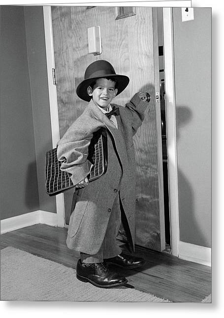 1950s Boy Dressed In Fathers Clothes Greeting Card