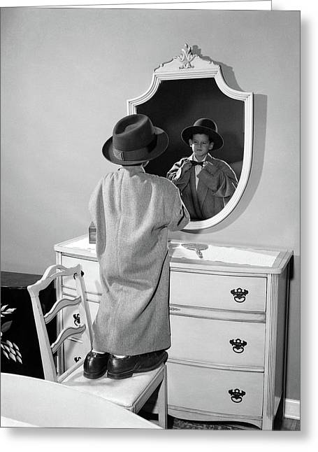 1950s Boy Dressed In Fathers Hat Coat & Greeting Card