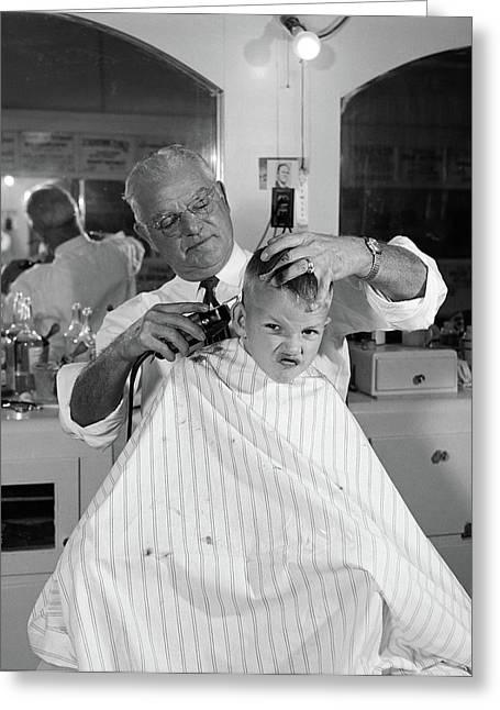 1950s Boy In Barbershop Getting Greeting Card