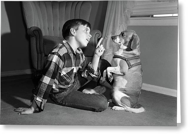 1950s Boy In Plaid Shirt Shaking Finger Greeting Card