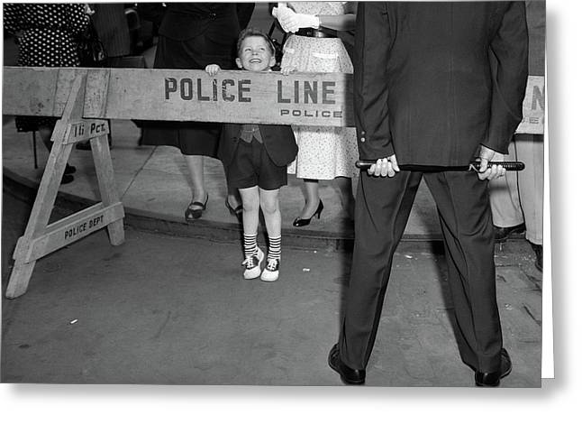 1950s Boy Looking Over Police Barricade Greeting Card