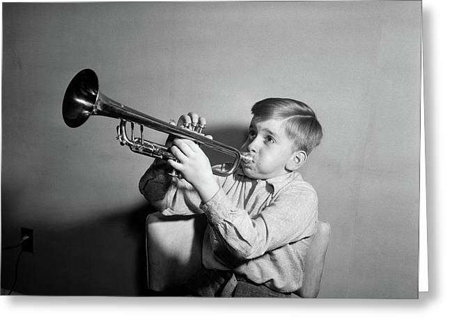 1950s Boy Playing Trumpet Horn Greeting Card