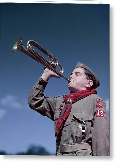 1950s Boy Scout Blowing Bugle Greeting Card