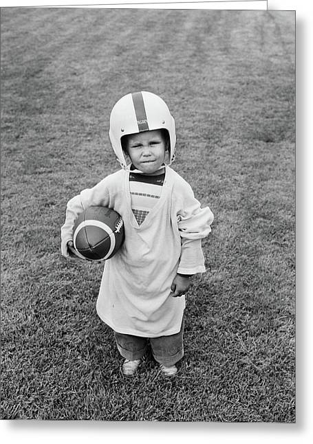 1950s Boy Standing In Grass Wearing Greeting Card