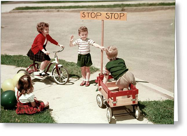 1950s Boys And Girls Outdoor Greeting Card